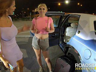 Roadside - Roadside Driver Fucks MILF And Her Stepdaughter