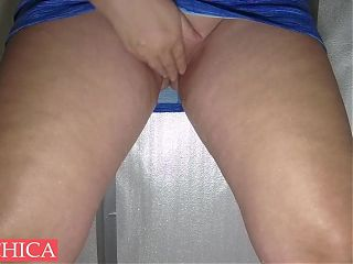 Sexy squirt and pee in public toilet