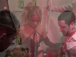 Stunning blonde gets to ride two fit hunks in the restrooms