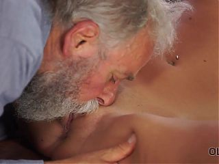 OLD4K. Middle-aged teacher and student have a good time at...