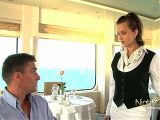 Lucky guy got a threesome at the cruise ship restaurant, wow