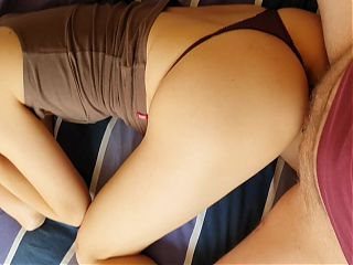 Horny Asian aupair receives a big load and messy creampie