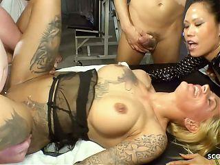 German Creampie Swallow Gangbang with Harleen van Hynten