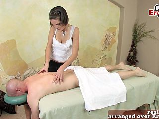Skinny milf with perfect tits get erotic massage and fuck