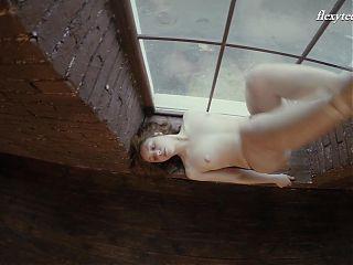 Small tits brunette babe Rita Pervorazova spreading legs