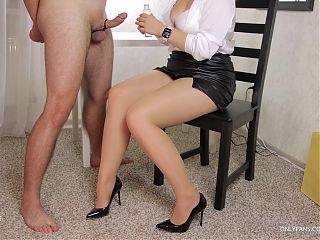 Teen School teacher does pantyhose tease and gives handjob to her student