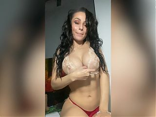 Busty Brunette Fucks Herself Hard With A Big Dildo And Brings